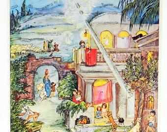 Stuttgart-Rohr Advent Calendar, Village, Star, Vintage West Germany 21769