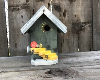 Birdhouse Functional Wood Bird House Handmade Outdoor For Garden Cavity Nesting Birds Whimsical Hanging Cottage Birdhouses, Item #608213524