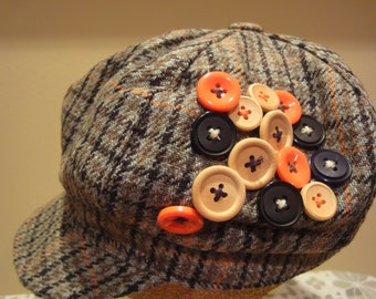 A Plaid Beret Woman's Hat With Bill