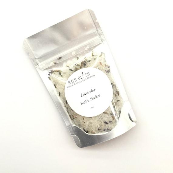 Lavender Bath Salts 2oz. Vegan Spa Salts Lavender Flower Buds Pure Sea Salt Bath Salts Natural Moisturizer Lavender Essential Oil Luxury Spa