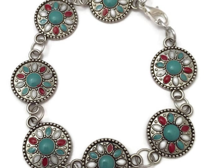 Red Turquoise and Blue Turquoise Beaded Bracelet,  Turquoise Link Bracelet, Southwest Design Bracelet, 7 inch Bracelet Silver and Turquoise