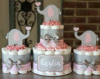 modern skillful themed alldiapercakes design elephant shower baby