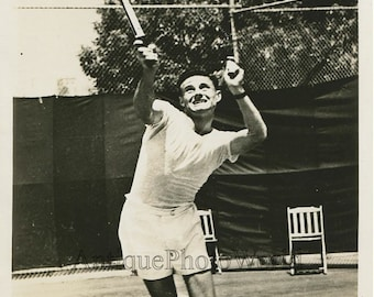 Ted Schroeder tennis player in action antique photo