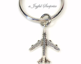 Airplane Plane Keychain, Pilot's Key chain, Flight Attendant's Keyring, Purse Charm Gift for Him Travel, Steward  For Men Man Her Women 139