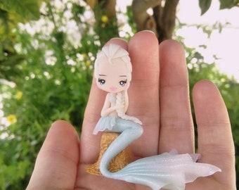 Mermaid elsa figurine in fimo, polymer clay
