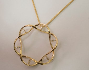 DNA Pendant, Solid Gold Pendant, Large Pendant, Gold Necklace, Diamond Pendant, Gold and Diamonds Pendant, Large Pendant