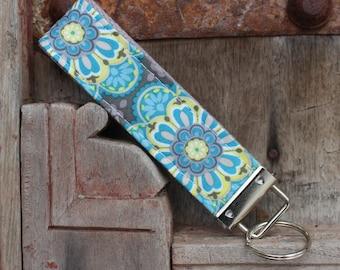 READY TO SHIP-Beautiful Key Fob/Keychain/Wristlet-Floral Burst on Gray