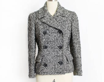 Vintage 1960s Jacket - Black & White Tweed Wool Double Breasted Mod Blazer - Medium / Small