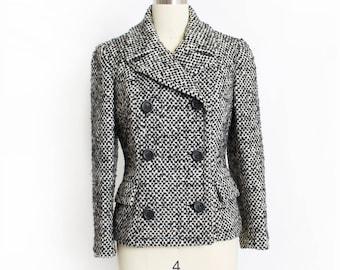 Vintage 1960s Jacket - Black & White Tweed Wool Double Breasted Mod Blazer - Medium / Small