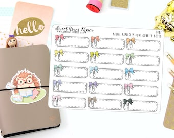 Bow Planner Stickers - Quarter Box Planner Stickers - Functional Planner Stickers - Event Planner Stickers - Blank Event Stickers - 1087