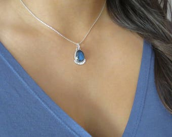 Blue Labradorite Necklace Gemstone Necklace Sterling Silver Necklace Gift for Mom Teacher Christmas Gift Handmade Gift for Women