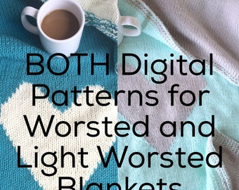 BOTH PATTERNS: Double Knit Heart Baby Blanket Worsted AND Light Worsted Weight Patterns