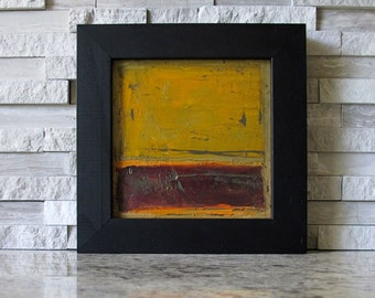 """FRAMED FREE SHIPPING Original Oil Painting Abstract Expressionism Art 4"""" x 4"""" inch Square Colette Davis Color Field"""