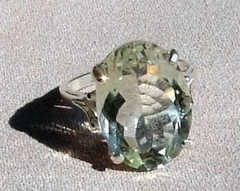 Green Amethyst Ring - Med Oval Cut