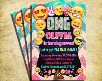 Emoji Invitation - Emoji Icons Birthday Party Glitter Invite - Printable And Digital File