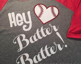 Hey Batter Batter Baseball Shirt - Softball Shirt - baseball mom shirt - softball Mom shirt - Mom Shirt - by Pocketbaby