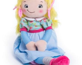 personalized rag doll, gift for girls, fabric doll, keepsake rag doll, toddler gift, birthday gift, ragdoll, flower girl gift, custom doll