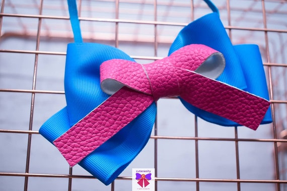 Blue Grosgrain and Pink Leather Bow- Baby / Toddler / Girls / Kids Headband / Hairband / Hair bow / Barette / Hairclip