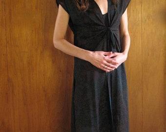 70s BLACK FLORAL sheer tie midi dress xs s m