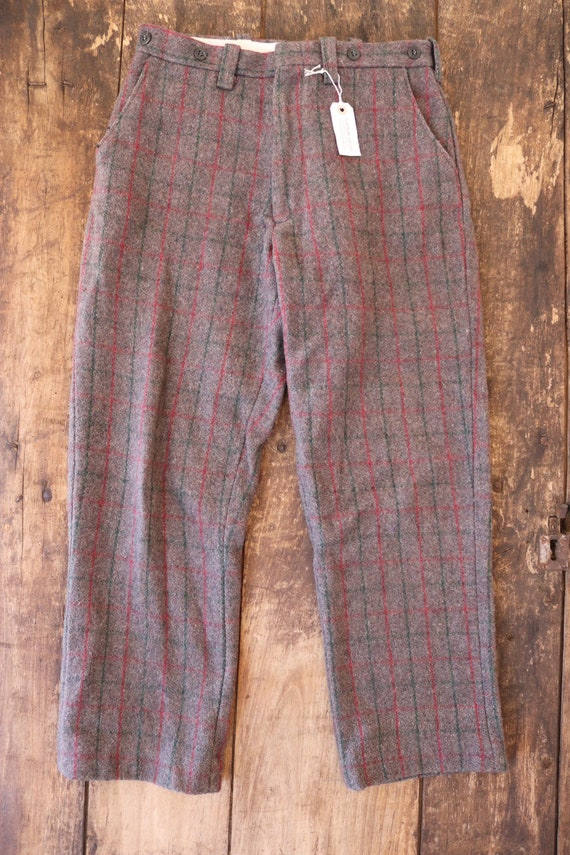 "Vintage Northway grey red green checked plaid wool hunting trousers pants suspender buttons 29"" x 28"""