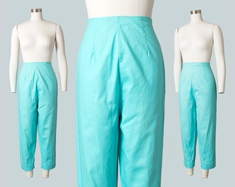 Vintage 1950s Capris | 50s Turquoise Blue Cotton High Waisted Cigarette Pants (small/medium)