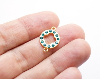 1pc Matte 22K Gold Plated Base Flower with blue rhinestone Connector - Flower 20x14mm (015-039GP)