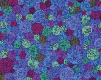 Kaffe Fassett Fall 2016 Rolled Paper in Blue = pink purple circles swirls quilt cotton fabric by the yard metre PWGP158.BLUE