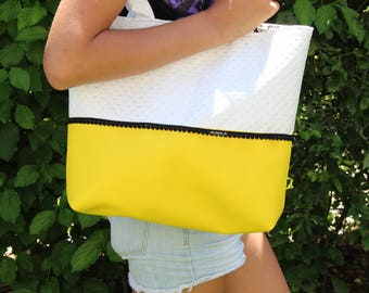 Yellow and white handbag