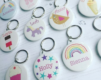 Personalised childrens keyring 'summer' - name keyring keyring - handmade personalised keyring - party bag favour - party bags