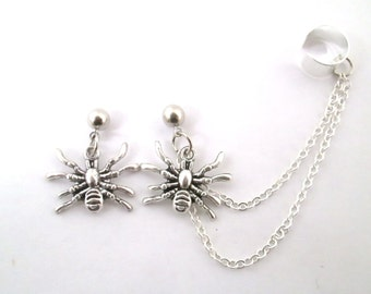 Silver spider ear cuff with chain