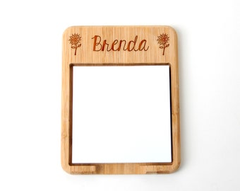 Personalized Floral Wood Sticky Note Holder - Custom Teacher Gift