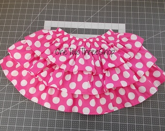 READY TO SHIP  out Minnie Mouse pink inspired ruffled layered skirt
