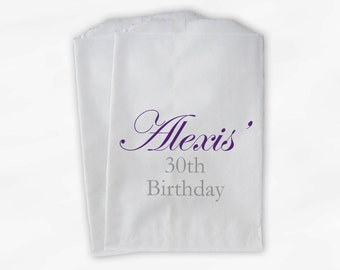Milestone Birthday Party Candy Favor Bags - Personalized Purple Custom Treat Bags for Women - 25 Paper Bags (0057)