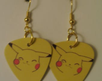 Pikachu Guitar Pick with Silver or Gold Fishhook
