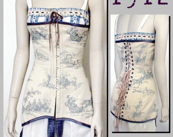 Corset (30cm half waist) Edwardian Reproduction PDF Pattern - 1910's -   made from original 1912  pattern
