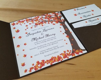 Falling leaves Wedding Invitation Autumn