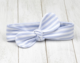 Baby headband knotted bow loop topknot blue white striped hair accessory baby girls Bellabuu