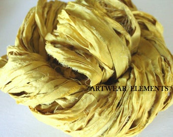 Pure Sari Silk, Canary Yellow, Per Yard, New Recycled Sari Silk, Fair Trade, Textile, Ribbon, Yarn, Yellow Silk, Sari, ArtWear Elements, 203