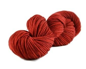 DK Yarn, Merino yarn, sport weight yarn, cabled yarn, superwash wool yarn, 100% Superwash Merino, red yarn, merino dk - Cherry Pie