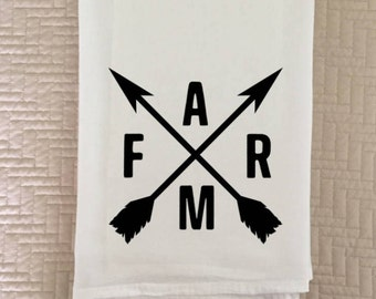 Farm Tea Towel | Flour Sack Towel | Crossed Arrows | Farmhouse Decor | Farmhouse Kitchen | Farm Logo | Farmhouse Tea Towel | 22612