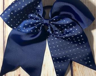 "Blue Rhinestone 7.5"" Grosgrain Cheering Bows"