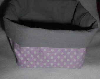 Basket, basket fabric reversible pink polka dots