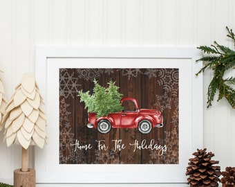 Christmas Printable Wall Decor Red Truck Chalkboard Christmas