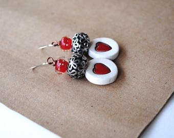 Heart Earrings, Red Earrings, Sweetheart Earrings, Ceramic Earrings, Romantic Earrings, Valentine's Day Gift, Unique Artisan Earrings