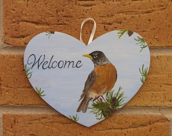 American Robin welcome sign
