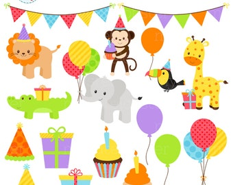 Birthday Animals Clipart Set - party animals clip art set, birthday party, balloons - personal use, small commercial use, instant download