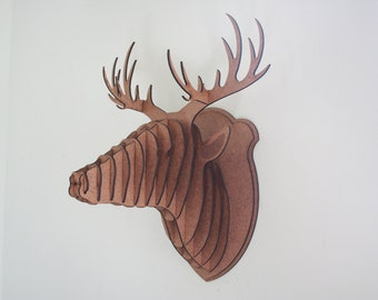 New  Large Wood Deer Head Wall Trophy