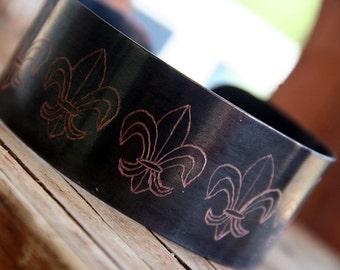 Copper Bracelet, Fleur De Lis, Engraved Copper Bracelet, Mens and Womens Copper Bracelet, Personalized Bracelet, Custom Bracelet, Groom Gift