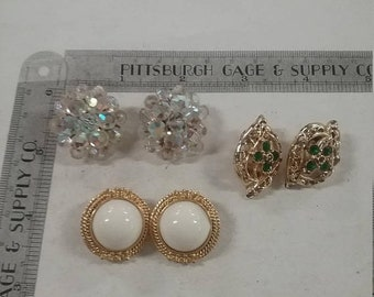 10%OFF3DAYSALE Used lot of 3 pairs of clip on earrings