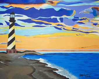 "Original Acrylic Landscape/ Seascape/ Lighthouse, North Carolina Painting Titled Cape Hatteras 12"" X 16"""